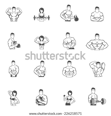 Bodybuilding fitness gym icons black set with male and female athletes silhouettes isolated vector illustration - stock vector