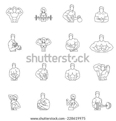 Bodybuilding fitness gym icons outline set with people workout isolated vector illustration - stock vector