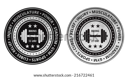 Bodybuilding fitness gym icons vector on a white background. - stock vector