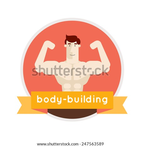 Bodybuilding isolated label. Champion creative vector in modern flat style. Sport club badge vector illustration. Fitness. Gym. - stock vector