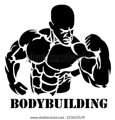 Bodybuilding, power lifting, vector, illustration - stock vector