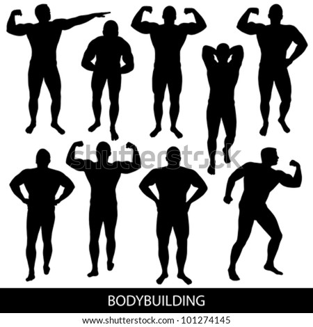 Bodybuilding silhouettes - stock vector