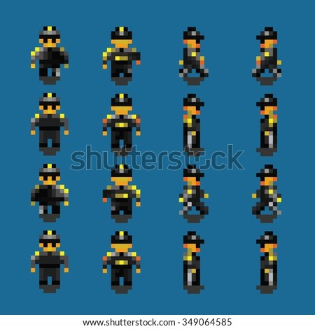 bodyguard pixel art walk animation frames vector illustration