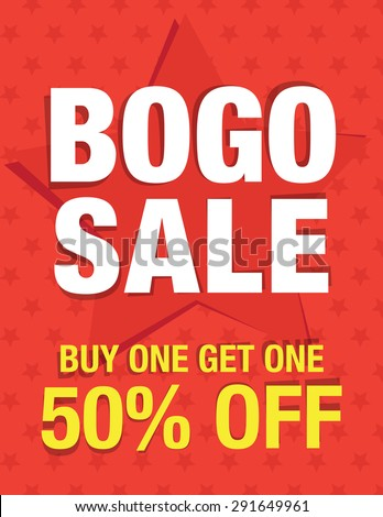 BOGO sale - Buy one get one 50% off - stock vector