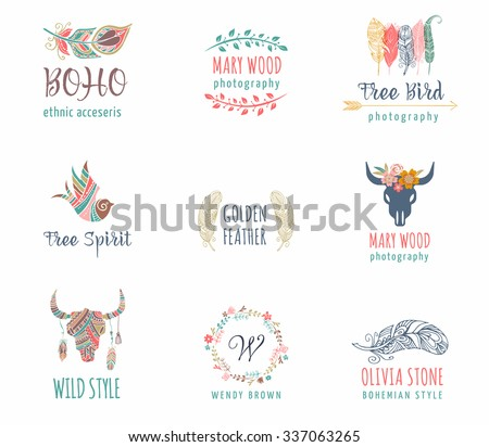Bohemian, Boho, tribal, ethnic icon set with feather, bird and wreath - stock vector