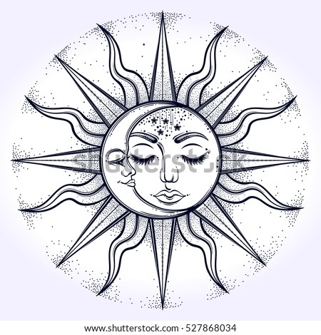 Bohemian Hand Drawn Sun And Moon Vector Illustration For Coloring Book T Shirts