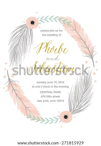 Bohemian Wedding Invitation with Feathers on White Background - stock vector