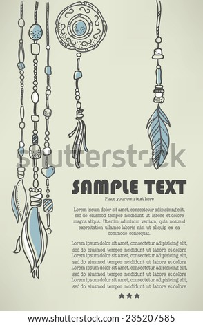 boho chic, vector hand drawn background
