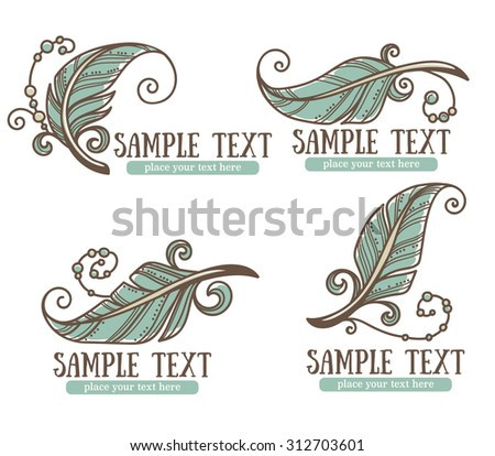 boho chic, vector hand drawn logo and emblems collection - stock vector