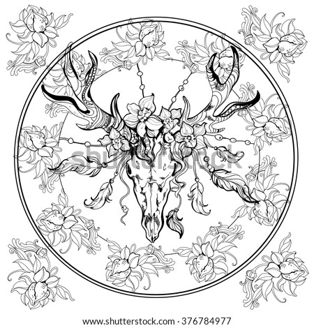 Boho Deer Scull Adult Coloring Bookeps Stock Vector HD Royalty Free