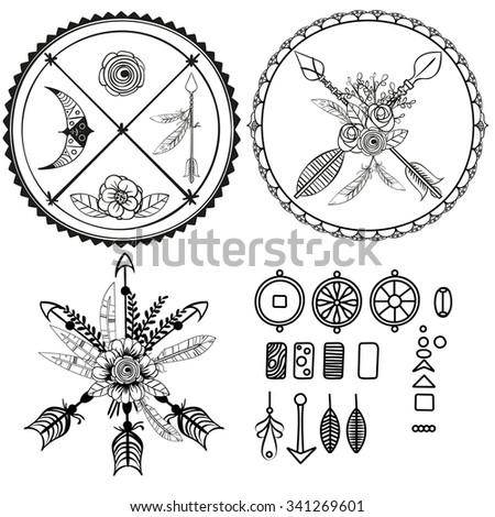 Boho elements design. Bohemian - stock vector