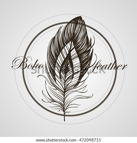 Boho feather hand drawn effect vector style illustration. Vector illustration of black boho feather. Boho indian feather