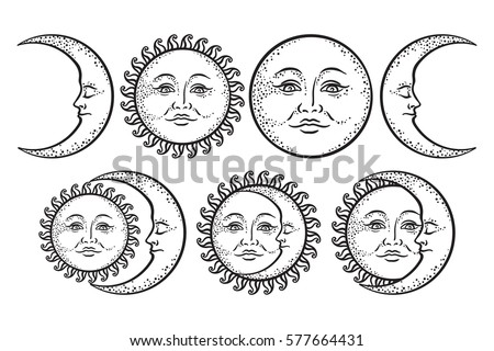 Boho Flash Tattoo Design Hand Drawn Art Sun And Crescent Moon Set Antique Style
