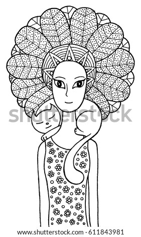 Boho Shaman Girl With Cute Cat Vector Hand Drawn Fairy Tale Illustration For Coloring Page_fairy Tales Coloring Page Dragonfly Alien Stock Vector 610270910 Coloring Page Dragonfly