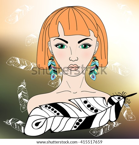 Boho style fashion girl with with red hair and green eyes on the background of falling feathers. Vector illustration. - stock vector