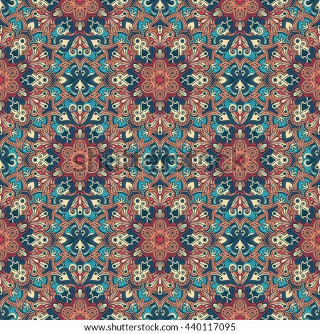 Boho style flower seamless pattern. Tiled mandala design, best for print fabric or paper and more.