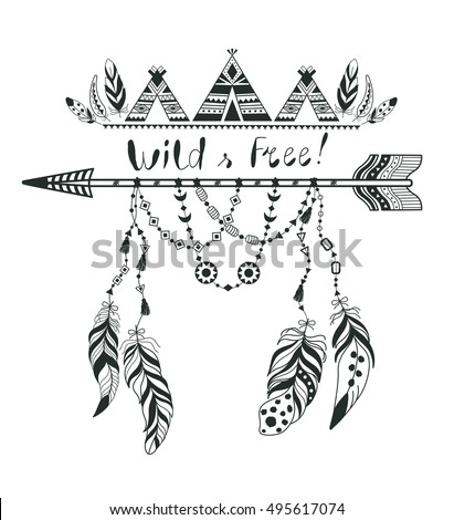 Boho Style For T Shirt And Decoration Abstract Design With Bird Feather Arrow