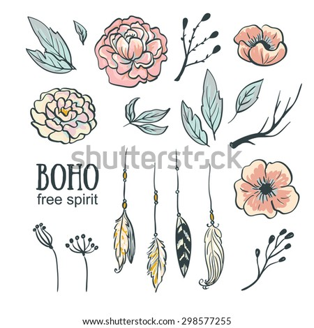 Boho style wedding invitation elements set. Vector illustration.Flowers, feathers and leaves.  - stock vector