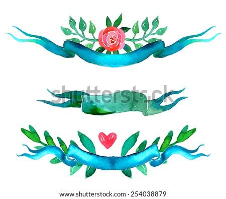 Boho style wedding invitation elements set.  Watercolor illustration. - stock vector