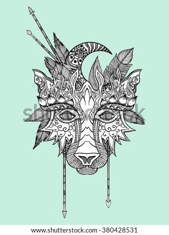 Boho wolf indian totem head vector illustration - stock vector