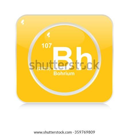 bohrium chemical element button - stock vector