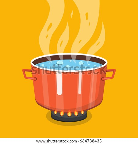 Boiling Water Pan Black Cooking Pot Stock Vector 443338105 ...
