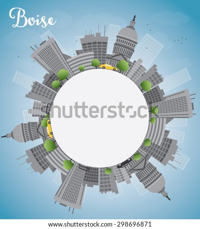 Boise Skyline with Grey Building, Blue Sky and copy space. Vector Illustration. Business travel and tourism concept with place for text. Image for presentation, banner, placard and web site.