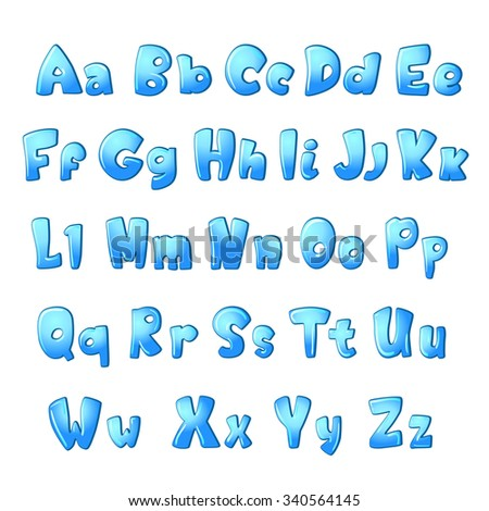 bold abc set for children. blue ice color