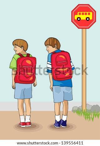 Bold and colorful vectors illustration of two young brothers waiting for the school bus at the end of their driveway on the first day of school- all, layers labeled for easy edits. - stock vector