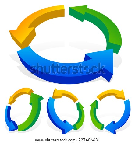 Bold 3d multicolor arrows. Cycle, loop, process, circulation, cyclic concepts. 4 versions rotated at different angles. - stock vector