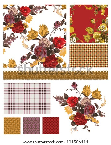 Bold floral fashion vector repeat patterns.  Use to create stunning fabric projects or digital paper or other paper craft items. - stock vector