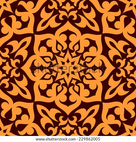 Bold geometric muslim seamless pattern with a single large repeat orange motif in square format suitable for wallpaper or fabric design - stock vector