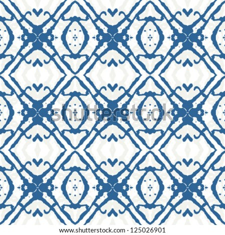Bold geometric ornament in blue. Seamless pattern. Texture for print, wallpaper, textile, wrapping, website or invitation background - stock vector