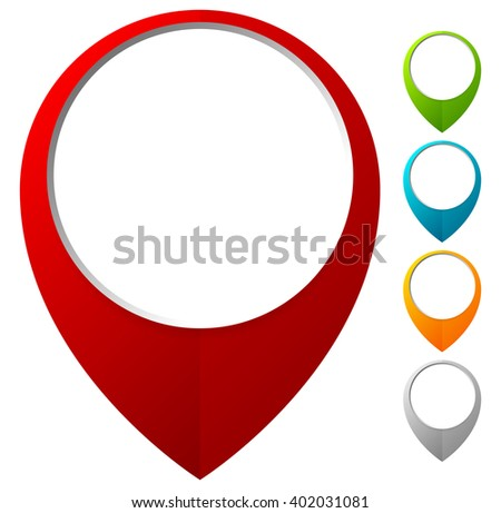 Bold map marker, map pin icons w/ empty circle - stock vector