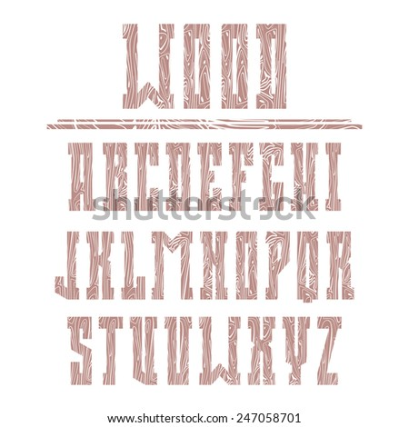 Bold serif font in the western style with wood texture - stock vector