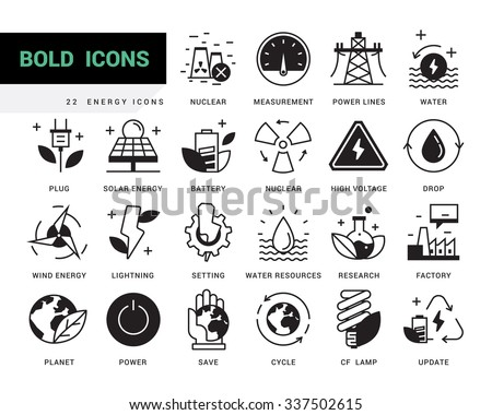 Bold vector icons in a modern style. Linear elements with potting black. Heavy industry, power generation, water resources, pollution and environmentally friendly energy sources. - stock vector