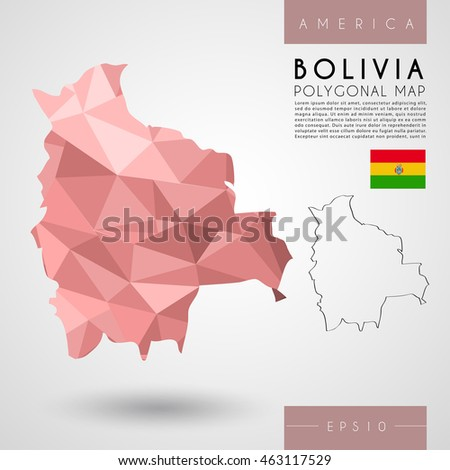 Bolivia : Low Poly Map : Vector Illustration