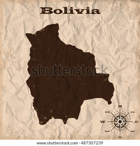 Bolivia old map with grunge and crumpled paper. Vector illustration