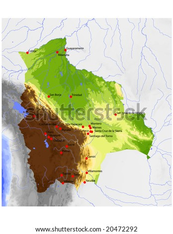 Bolivia. Physical vector map, colored according to elevation, with rivers and selected cities. Surrounding territory greyed out. 71 layers, fully editable. Data source: NASA - stock vector