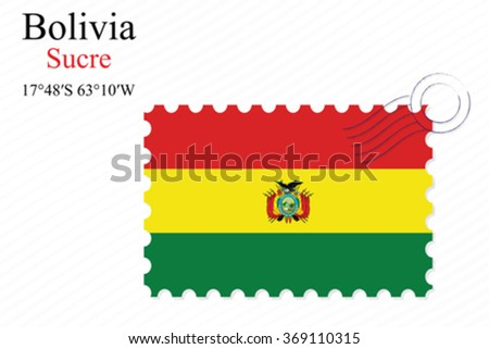 bolivia stamp design over stripy background, abstract vector art illustration, image contains transparency - stock vector
