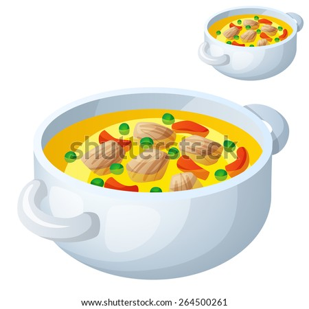 Bollion with meat and vegetables isolated on white background. Detailed Vector Icon. Series of food and drink and ingredients for cooking. - stock vector