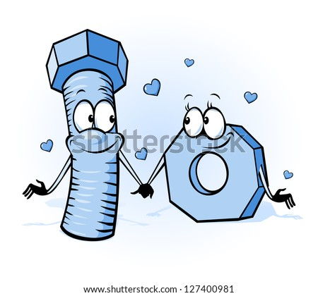 bolt and nut cartoon - belong together, design for valentines day or wedding card - stock vector