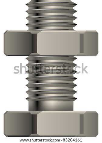 Bolt and nut for fixture in a vector - stock vector