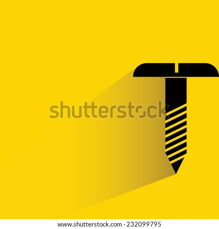 bolt on yellow background, flat and shadow theme - stock vector