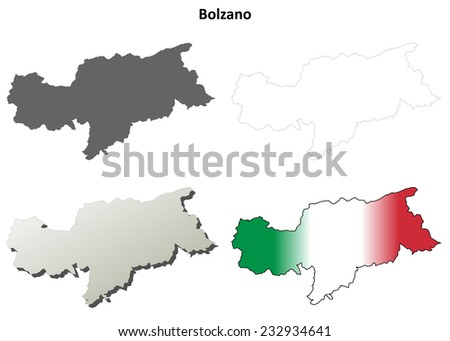 Bolzano (South Tyrol) blank detailed outline map set - Italian version - stock vector