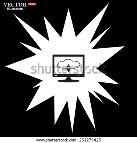Bomb, blast. Explosion, cotton. Flash, an explosion on a black background. cloud storage on the computer, vector illustration, EPS 10 - stock vector