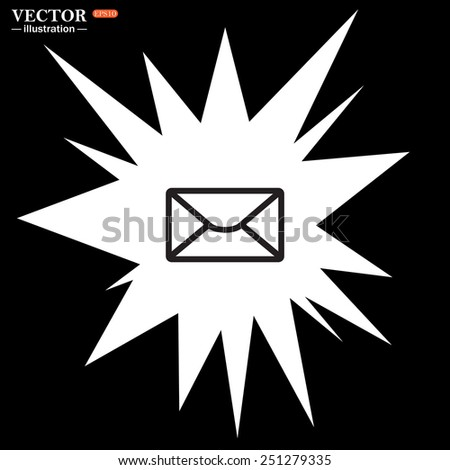 Bomb, blast. Explosion, cotton. Flash, an explosion on a black background. envelope lette , vector illustration, EPS 10 - stock vector
