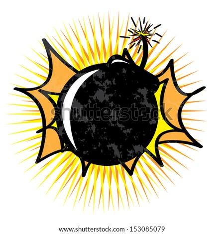 Bomb design over white  background vector illustration   - stock vector