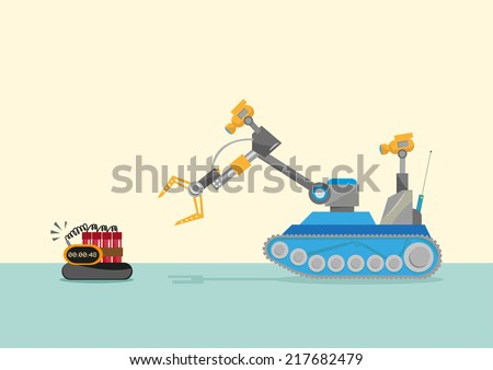 Bomb-disposal Robot  or Explosive Ordnance Disposal EOD Flat Concept illustration - stock vector