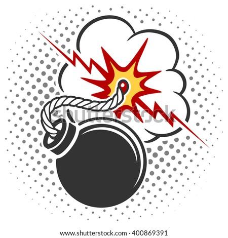 Bomb icon with burning wick. Pop art style cartoon explosion. Vector illustration - stock vector